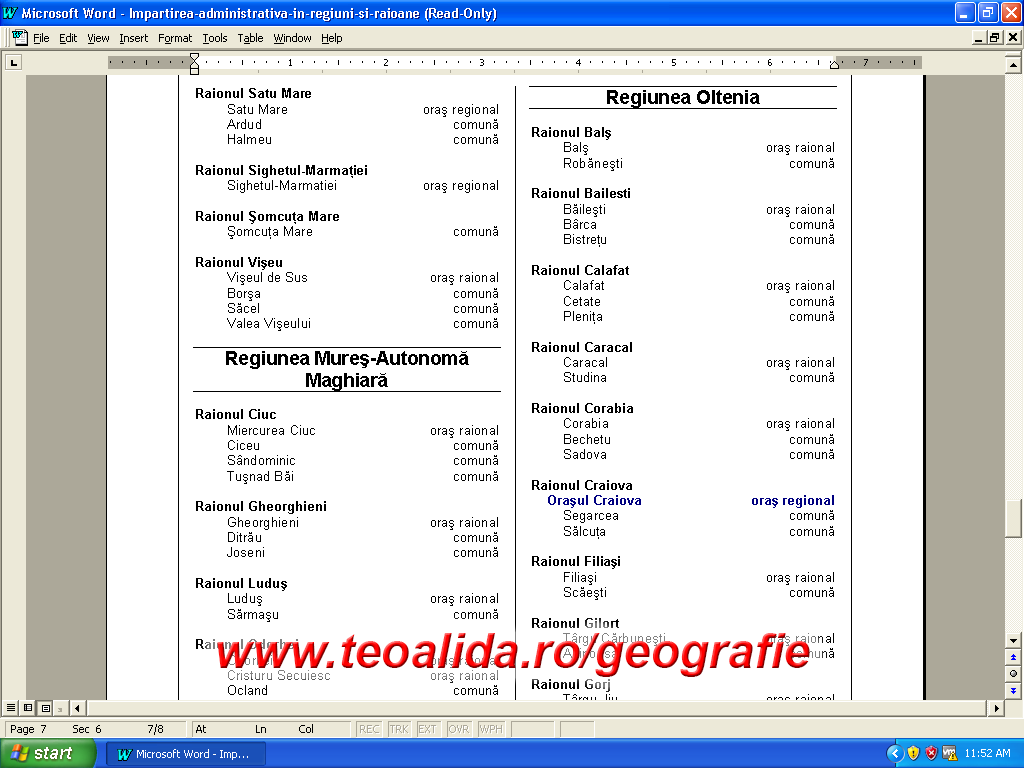 Impartirea administrativa in regiuni si raioane